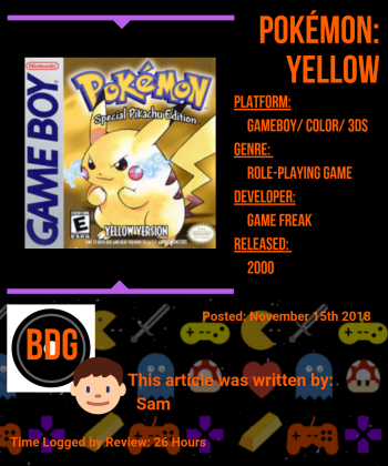 Pokemon Yellow Info Card