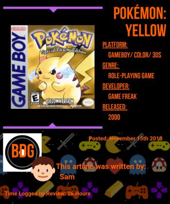 Pokemon Yellow Info Card